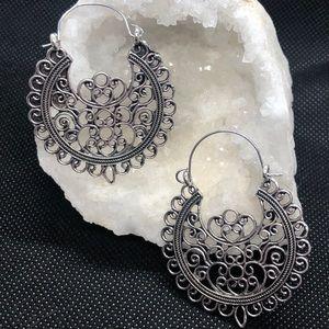 Boho Silver Scroll Hoop Earrings